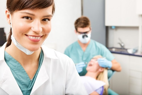hygienist in the foreground